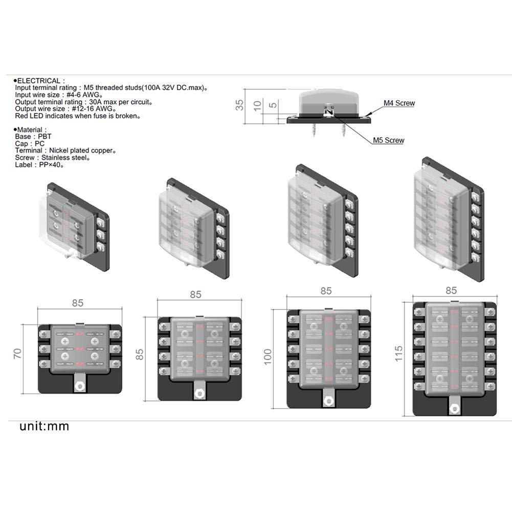 Asiproper 8-fach Sicherungshalter f/ür Sicherungshalter mit Sicherungen f/ür 12 V 24 V Auto Marine