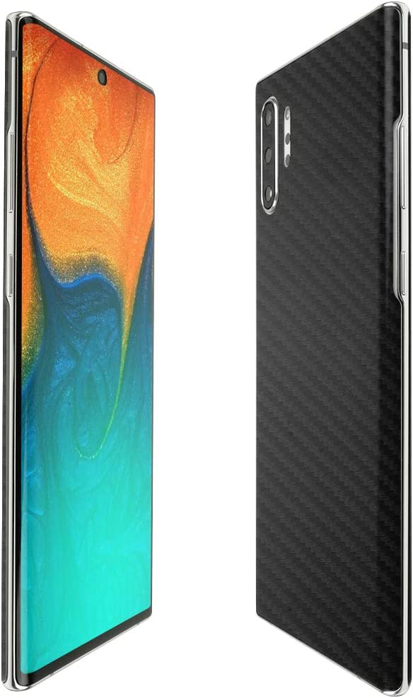 Skinomi Black Carbon Fiber Full Body Skin Compatible with Samsung Galaxy Note 10+ Plus TechSkin with Anti-Bubble Clear Film Screen Protector Full Coverage Note 10+ 5G, 6.8 inch Display