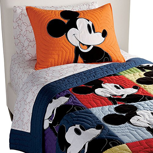 Ethan Allen | Disney  Color Block Mickey Mouse Quilt, Full/Queen, Multicolor ()