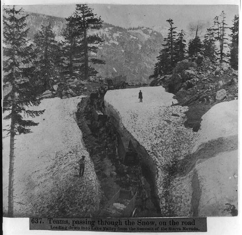 HistoricalFindings Photo: Teams Passing Through Snow,Lake Valley,Sierra Nevada,Winter,1866,Landscape