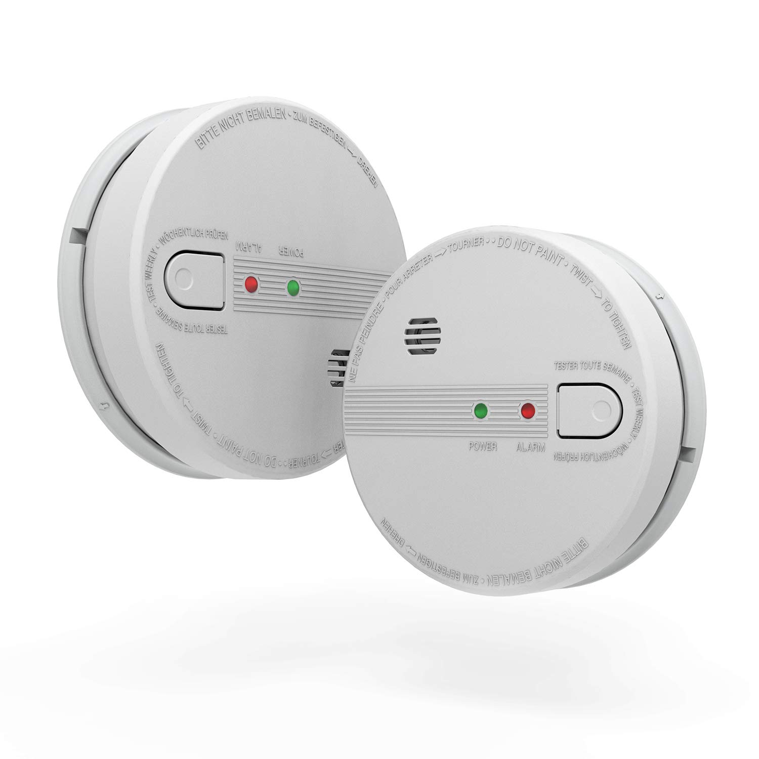2 Pack Smoke Detector, AC Hardwired Interconnect Smoke Alarm, Photoelectric Sensor Fire Alarm with 9V Battery Backup