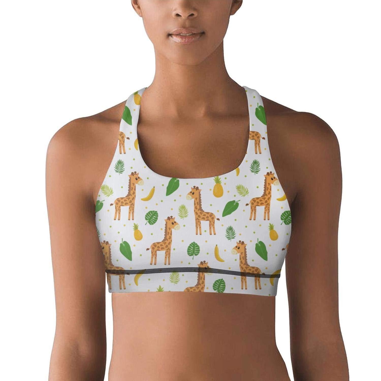 Pineapple and Banana Tropical Plants Giraffe White Yoga Sport Women Sleepwear
