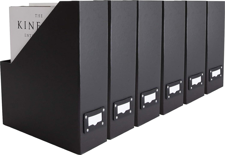 Blu Monaco Foldable Black Magazine File Holder with Leather Label Holder - Set of 6 Cardboard Magazine File Boxes Desk File Organizer