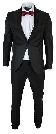 Costume Smoking Homme Noir avec détail Rouge Bordeaux col châle Noeud  Papillon Mariage soirée fête 111594e713f