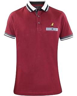 Men Kangol Jelka Polo T-shirt Mahogany Marl Large