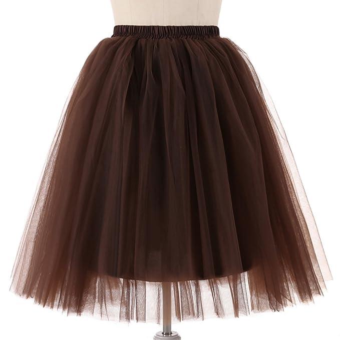 47f0c7d61b58 Gloa Princess Tutu Skirt Women Tulle Half Slips Wedding Party Petticoat  Underskirt - Coffee