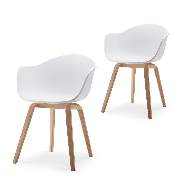 Romeo Set da 2 sedie da lounge in stile retro, ideali anche come sedie da pranzo; materiale: Polipropilene - colore: Nero - 43x80x53 … Damiware