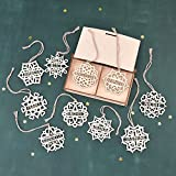 """Set of 10 PERSONALIZED SNOWFLAKE ORNAMENT // 5"""" Inches Christmas Decoration - Wooden Christmas Tree Ornaments - Custom Christmas Gift"""