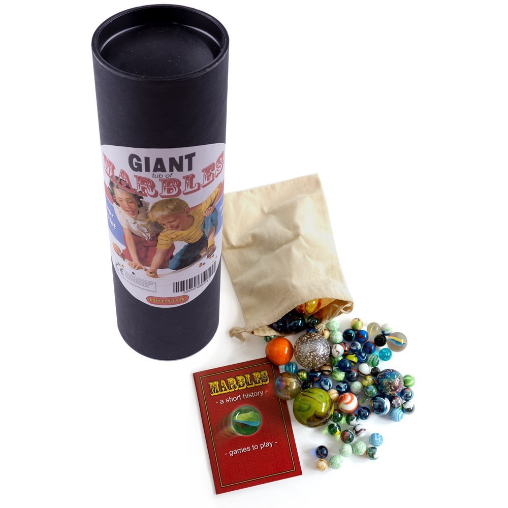 Brimtoy Giant Marbles Tub Hand Picked Glass with Bag Booklet Brimtoy Ltd 45mixed+bag+Book