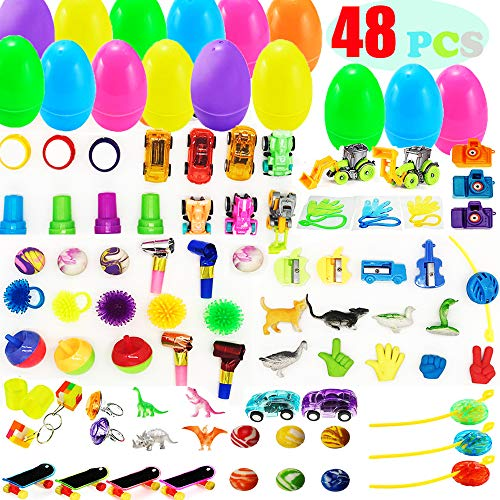 - AISENO 48 Pack Toy Filled Easter Eggs with Toys Inside - Egg Surprise Toy for Kids Easter Baskets, Party Favors Plastic Easter Eggs Decorations