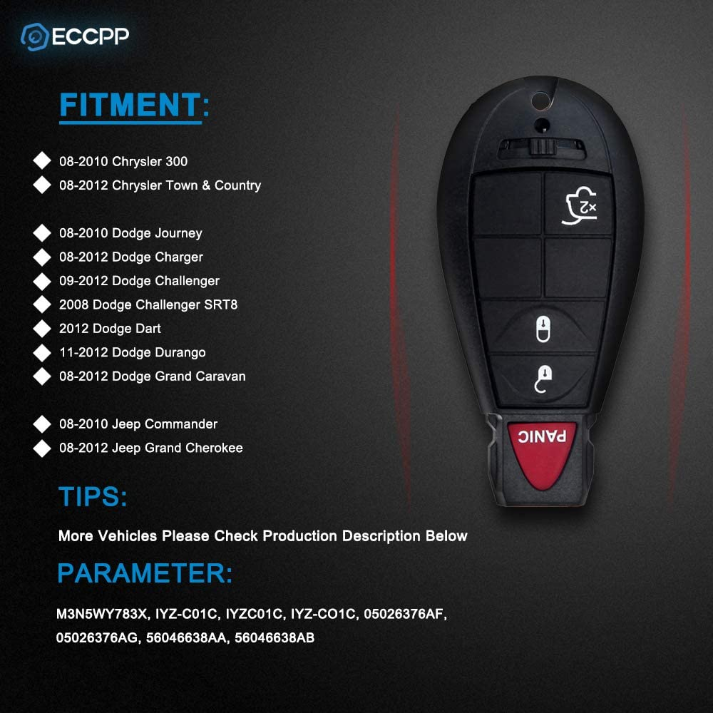 433MHz M3N5WY783X ECCPP Replacement fit for 1PC Uncut Keyless Entry Remote Key Fob Chrysler Dodge Jeep Series