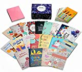 Birthday Cards Box Set,HonWally 40 Packs Assorted Birthday Cards With Gold Embellishments,40 Different Unique Designs Including 3 Colors Gummed Envelope