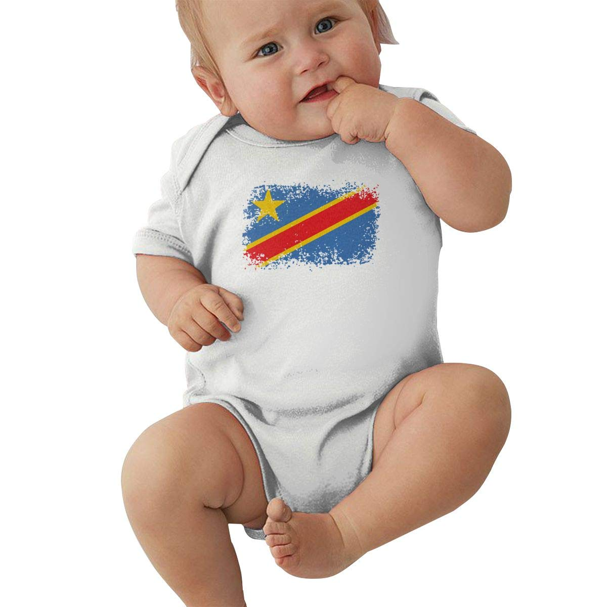 LBJQ9 Congo Distressed Flag Baby Boys Soft /& Breathable Short Sleeve Bodysuit Outfits Clothes