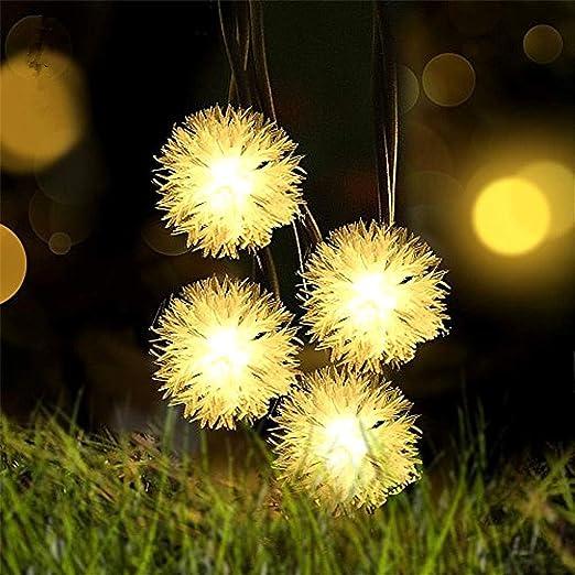 Guirnaldas Solares Luminosas 30-200 LEDs Pelota Peluda Cálido ...