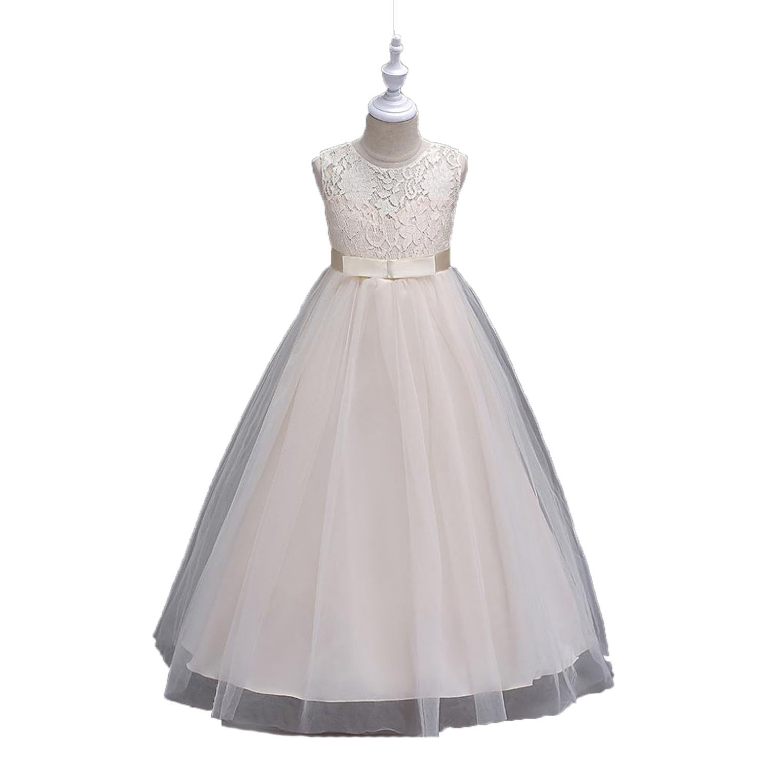 Princess Pink Lace Flower Girl Dresses Girls Pageant Dresses First Communion Dresses Kids Evening Gowns,Champagne,Child-13