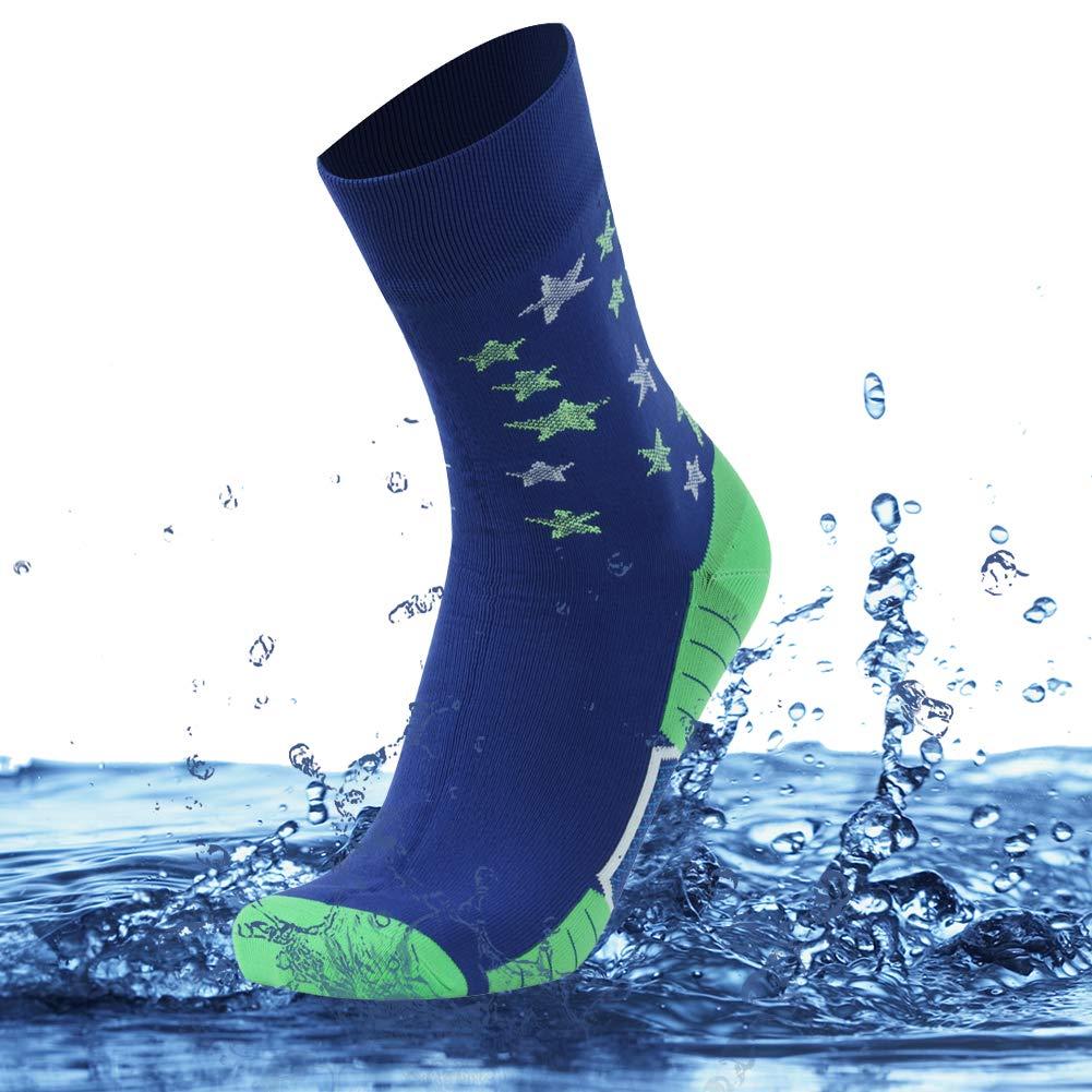 SuMade Unisex 100% Waterproof Socks, Athletic Outdoor Recreation Breathable Cushioned Novelty Winter Sports Luminous Ski Hiking Running Crew Socks 1 Pair (Blue, Medium) by SuMade