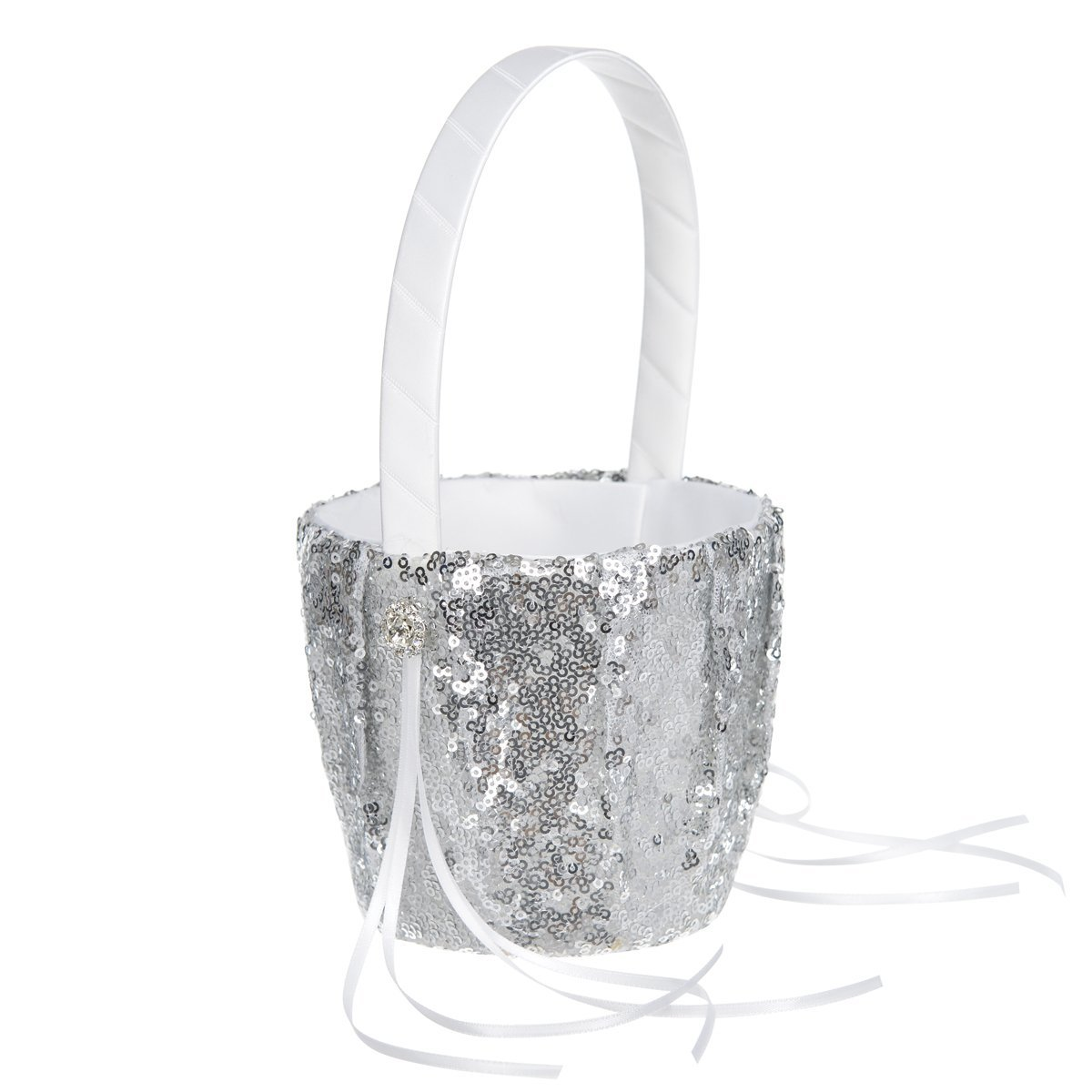 Remedios 5 Colors Fashion Sequin Wedding Flower Girl Basket Flower Basket, Green LWCAHL1605CP1S165