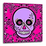 3dRose dpp_28869_2 Day of The Dead Skull Dia De Los Muertos Sugar Skull Purple Pink Black Scroll Design-Wall Clock, 13 by 13-Inch