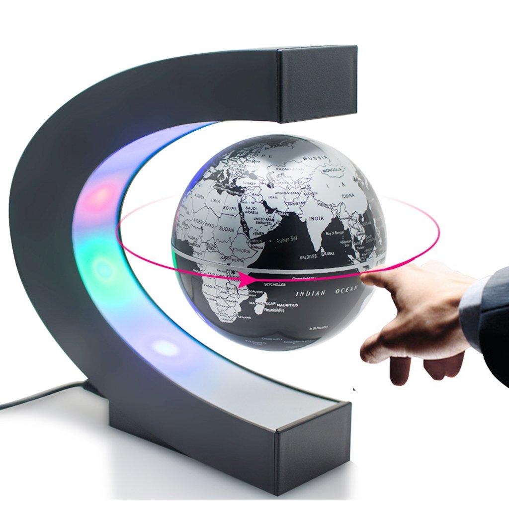 Zinnor C shape Decoration Magnetic Levitation Floating Globe World Map with Colored LED Light Anti Gravity Globe for Children Gift