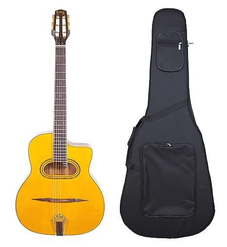 París por Quincy Gypsy Jazz forma de guitarra acústica con carcasa ...