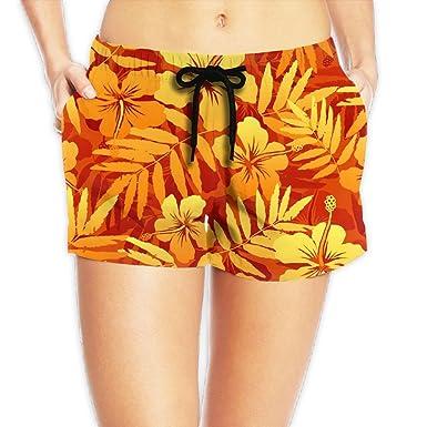 627c4bc241 SARA NELL Women's Beach Board Shorts Hawaii Hawaiian Orange Tropical  Flowers Swim Trunks Briefs Swimsuit at Amazon Women's Clothing store: