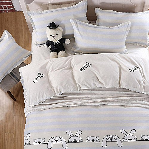 Used, GladsBuy Dog Rabbit White Stripe Duvet Cover Pillowcase for sale  Delivered anywhere in USA