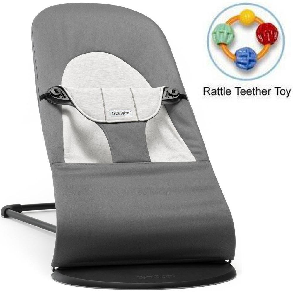 Baby Bjorn 005084USK Bouncer Balance Soft Dark Gray Gray Jersey with Rattle Teether Toy