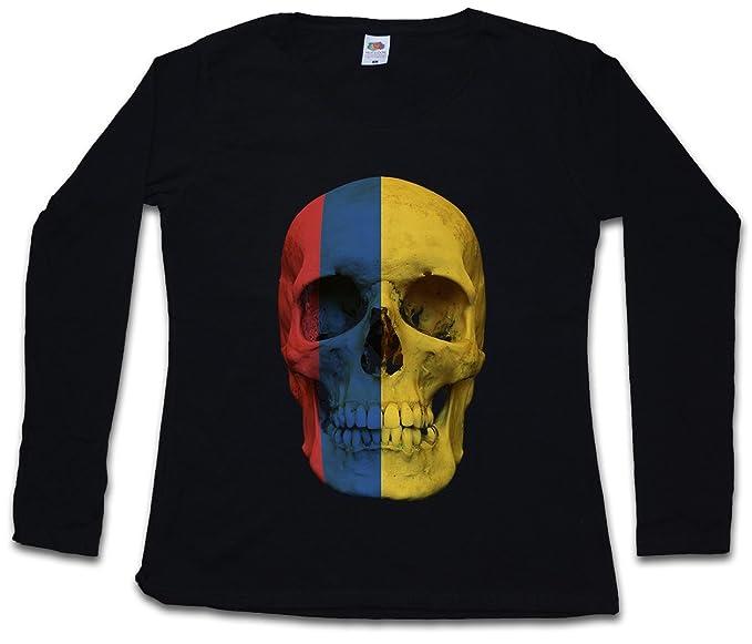 Classic Colombia Skull Flag Mujer Woman T-Shirt DE Manga Larga - Bandera cráneo Schädel