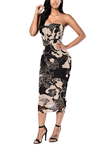 Women Sexy Strapless Mesh See Through Flowers Print Clubwear Bodycon Tube Midi Dress