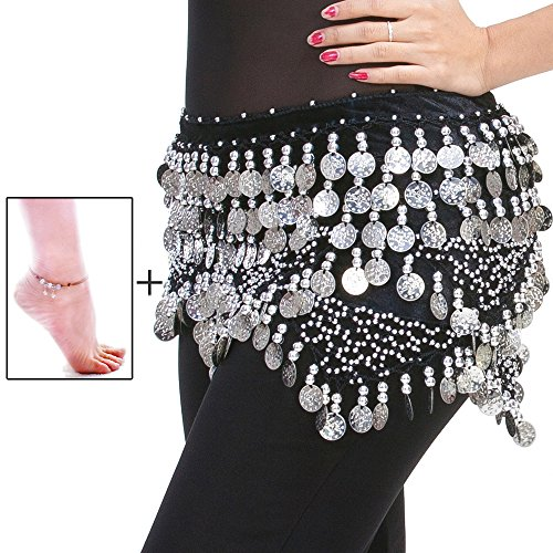 [Mutreso Belly Dance Hip Scarf with 320 Silver Ringing Coins 150cm Dance Coin Belt Profession Velvet Performance Skirt Hip Wrap] (Simple Cheer Dance Costumes)