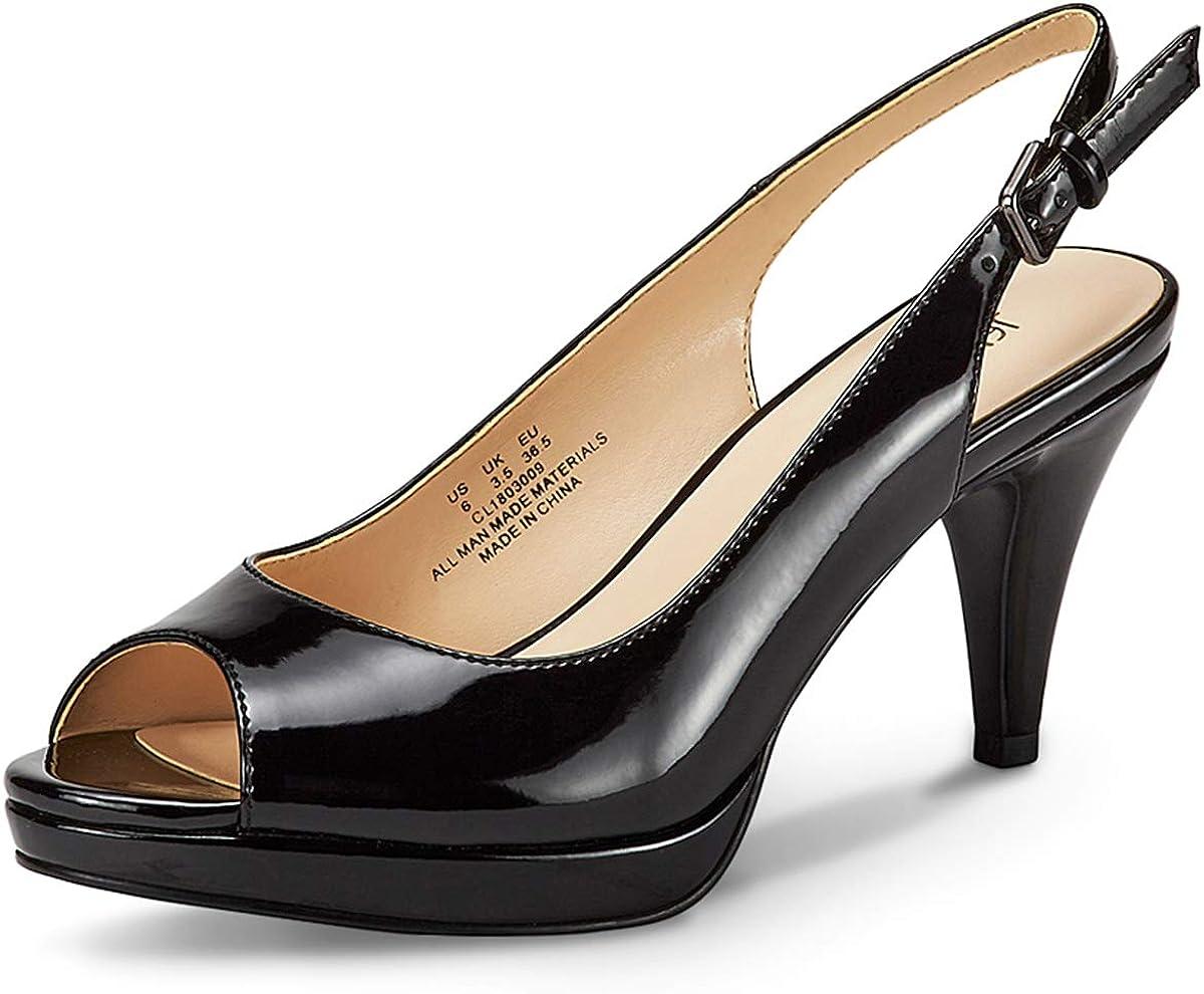 JENN ARDOR Women's Slingback Pumps Stiletto High Heels Ladies Peep Toe Sandals Dress Party Platform Shoes