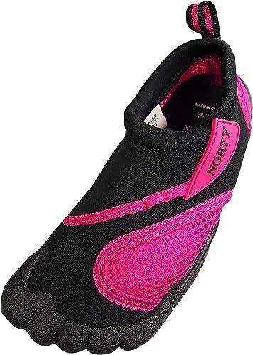 NORTY Toddler Girl's Skeletoe Aqua Water Shoe, Black, Fuchsia  40323-5MUSToddler