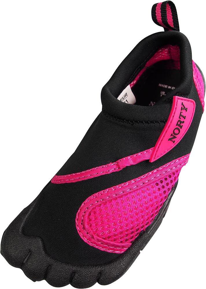 NORTY Toddler Girl's Skeletoe Mesh Waterproof Athletic Aqua Socks for Pool Beach, Black, Fuchsia 40323-8MUSToddler by NORTY