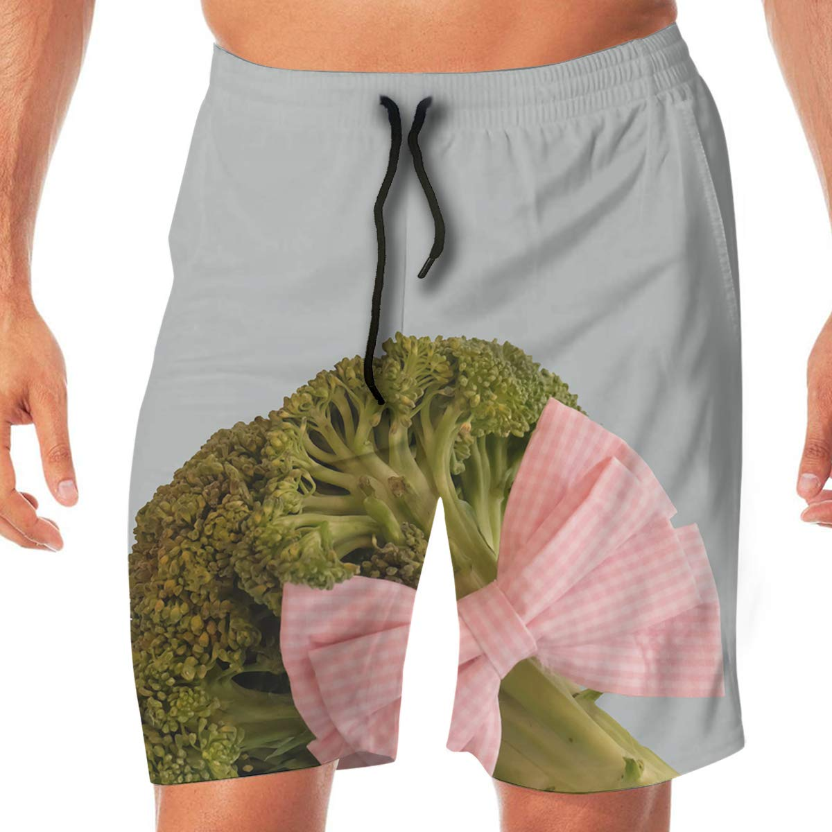 SEXTDSFD Broccoli Bow Mens Running Casual Short Beach Pants Swim Trunks Drawstring Board Shorts Swimwear