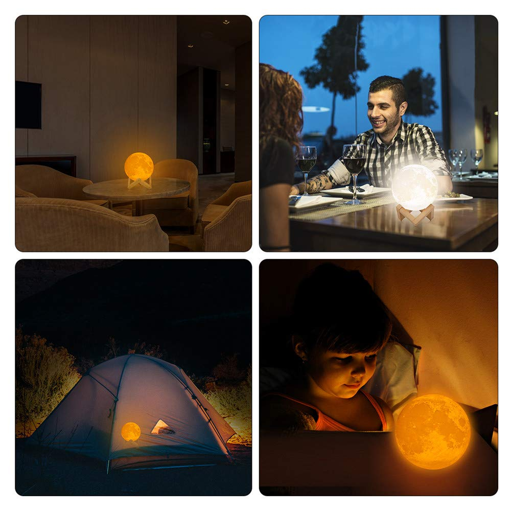 3D Moon Lamp, LED Moon Night Light with Stand, Flap Control and USB Recharge, Rechargeable Home Decorative Light, Warm White&Cool White&Yellow, for Baby Kids Lover Birthday Gifts (5.9''/15cm) by Garoma (Image #3)