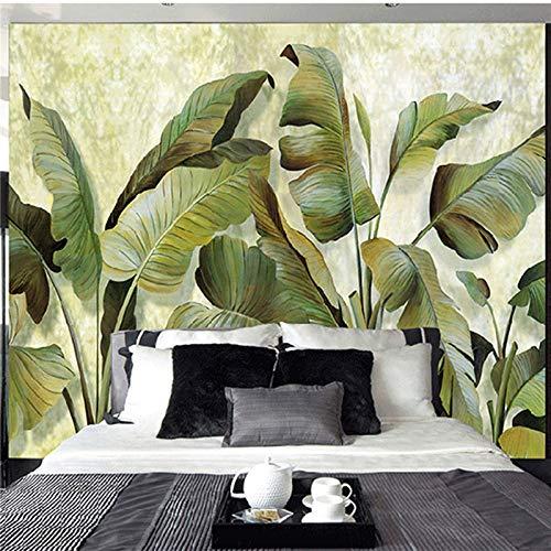 (Amazhen Silk Mural Custom Mural Wallpaper Southeast Asian Tropical Green Banana Leaf Wallpaper Bedroom Living Room Background Wall Decor Wallpaper,275cm252cm)