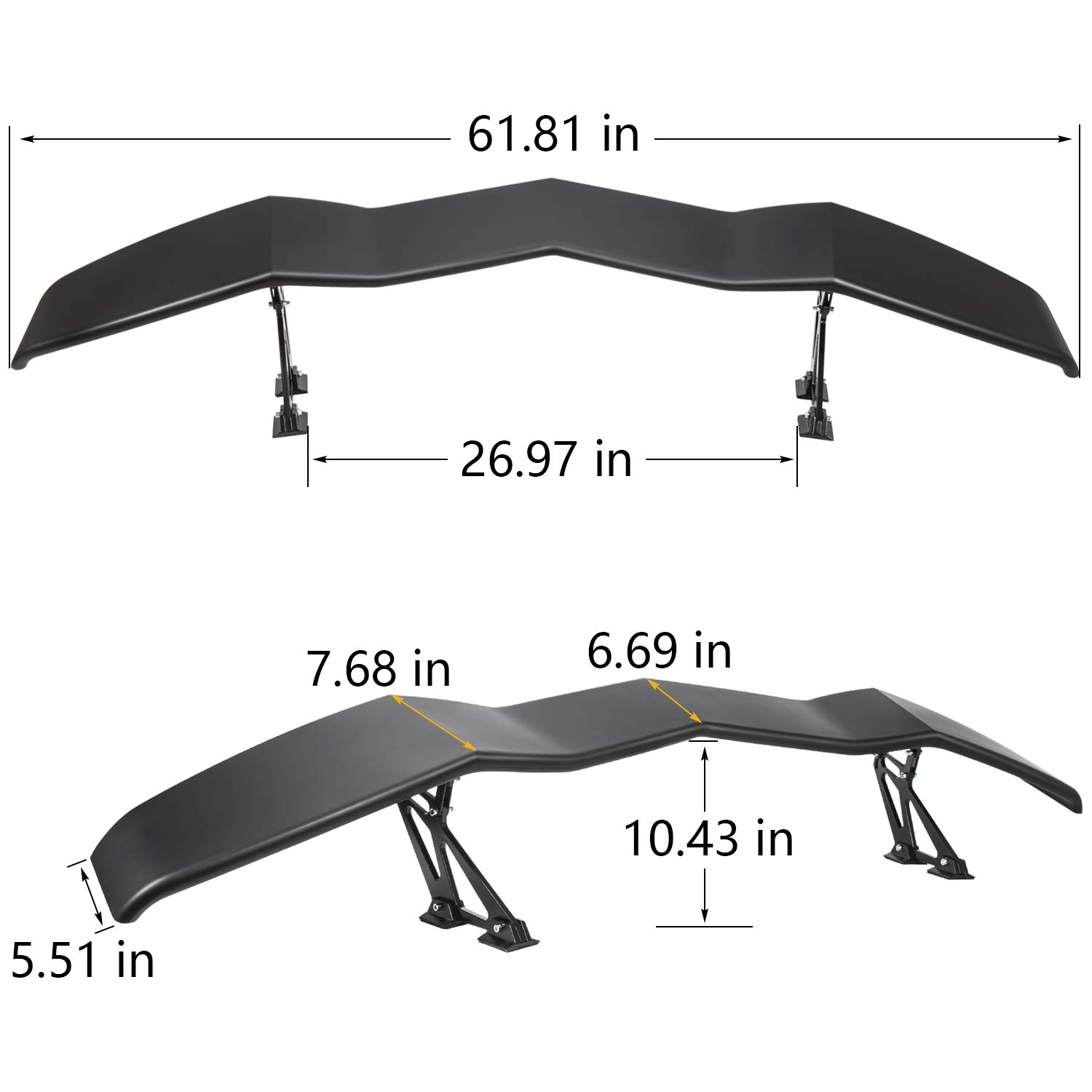 Car & Truck Exterior Parts For Camaro 61 GT Style Carbon Fiber Down Force Width Stand Trunk Spoiler Wing Auto Parts & Accessories