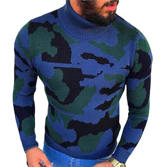 Hombre Sudadera de Camuflaje, Invierno Otoño Suéter, Manga Larga Cuello Alto Casual Slim Fit Pullover Jumper Sudadera Punto Tops Tallas Grandes M-3XL: ...