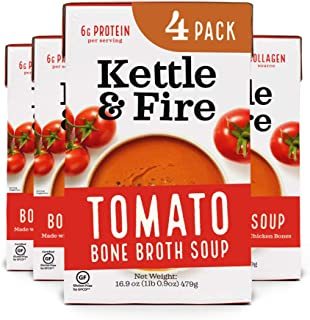 product image for Tomato Soup with Chicken Bone Broth by Kettle and Fire, Pack of 4, Paleo, Gluten Free Collagen Soup on the Go, 9g of Protein, 16.9 fl oz