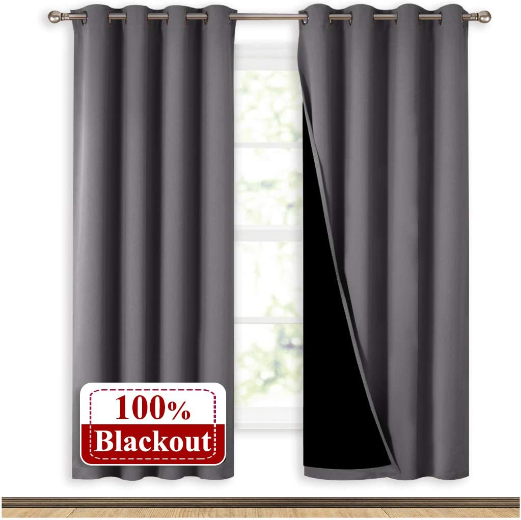 NICETOWN Grey Full Shade Curtain Panels, Pair of Energy Smart & Noise Blocking Out Blackout Drapes for Dining Room Window, Thermal Insulated Guest Room Lined Window Dressing(Gray, 52 x 72 inch)