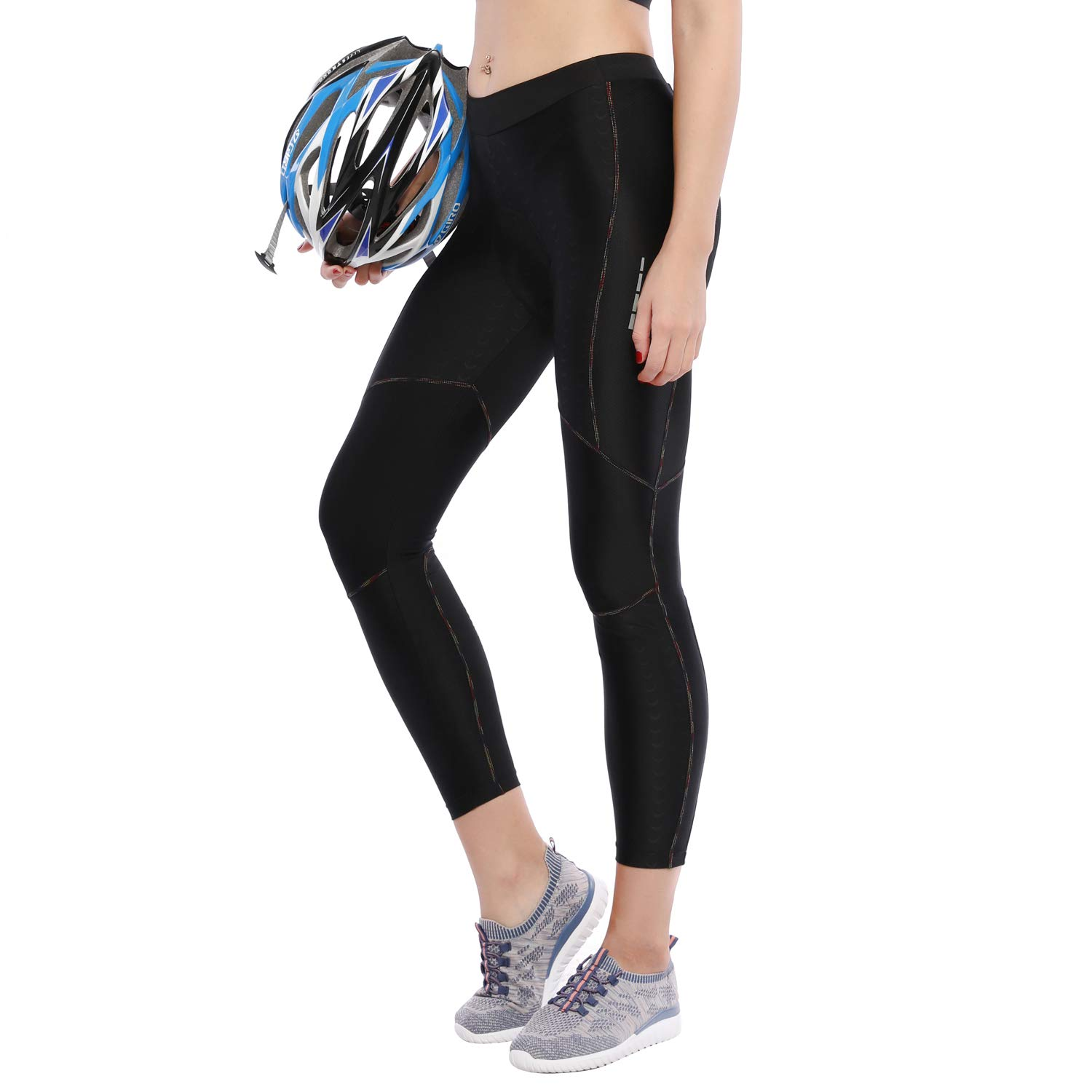Santic Women's Cycling Pants Bike 4D Padded Tights Long Bicycle Pants Breathable & Quick Dry