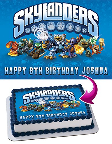 Skylanders Personalized Cake Toppers Icing Sugar Paper A4 Sheet Edible Frosting Photo Birthday Cake Topper 1/4 ~ Best Quality Edible Cake Image for $<!--$13.99-->