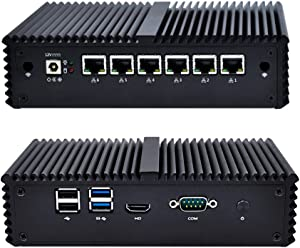 Qotom-Q555G6-S05 Qotom Mini PC Intel Core i5 7200U Industrial Micro PC Barebone System Dual Core Desktop Small Computer with 6 Gigabit Ethernet NIC
