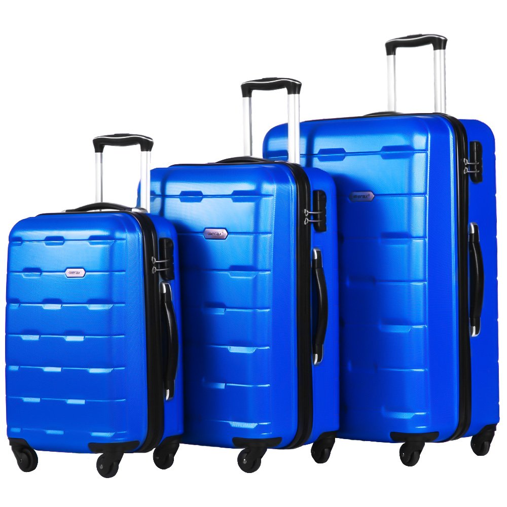 Merax Luggage 20 Inch 24 Inch and 28 Inch 3-Piece Suitcase Spinner Set (Blue.)