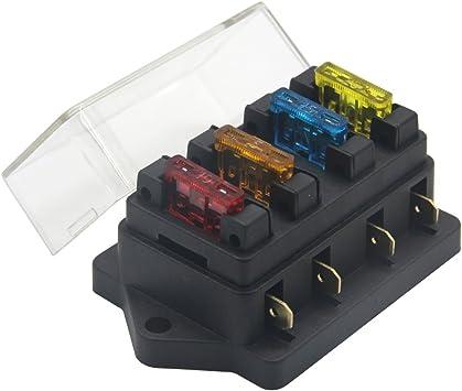 Amazon.com: ZOOKOTO 12V/24V 4 Way Car Auto Blade Fuse Board Box Standard Blade  Fuse Box Holder Block with 5A/10A/15A/20A Fuses: AutomotiveAmazon.com
