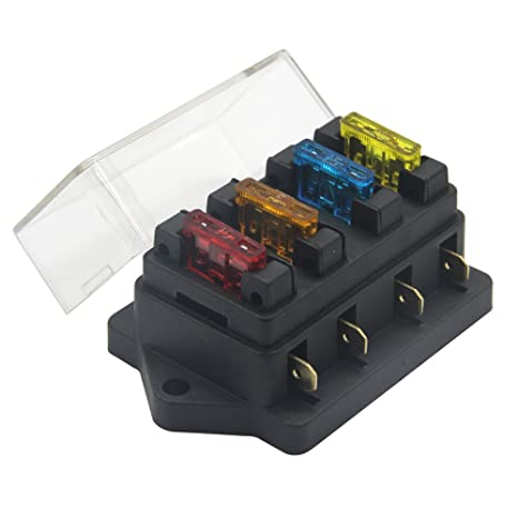 zookoto 12v 24v 4 way car auto blade fuse board box standard blade fuse box holder block with 5a 10a 15a 20a fuses  ecosin 6 way car illustration fuse box