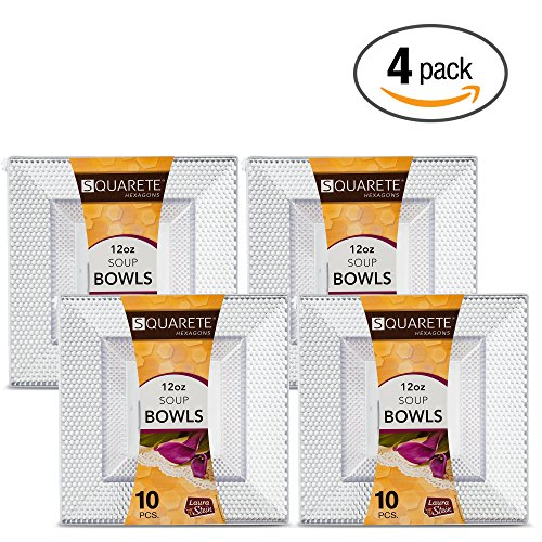 Crystal Square Bowls (Squarete Hexagons Crystal Clear Hard Plastic Elegant Disposable 12 Ounce Square Dessert Bowls 10 Bowls Per Package Pack Of 4)