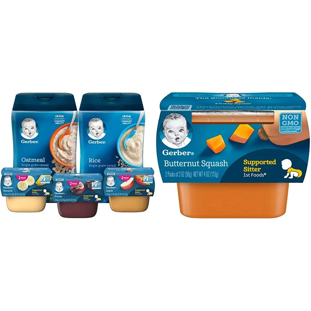 Gerber Purees 1st Foods & Single Grain Cereal Assorted Variety Pack, 11 Count & 1st Foods, Butternut Squash Pureed Baby Food, 2 Ounce Tubs, 2 Count (Pack of 8)