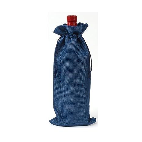 Bolsas de vino de yute natural rústico con cordón, bolsa de regalo para botellas de vino, cubierta de botella para organización Tamaño libre azul real