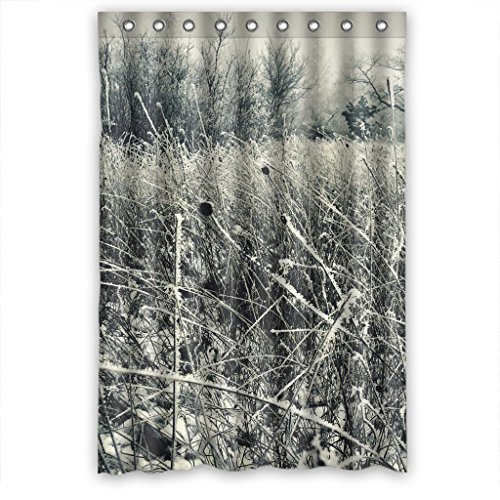 "Gray White Winter Grass Snow Flake Artistic Waterproof Shower Curtain 48""(w) x 72""(h)"
